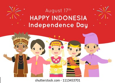 Happy Indonesia Independence Day, August 17th vector design. Indonesian children wearing Indonesian traditional dress embracing, with Indonesian flag background.