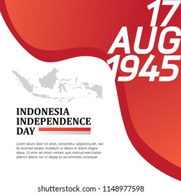 Happy Indonesia independence day banner vector illustration background with flag, text and national garuda bird. can use for Wallpaper and web banner or social media content.