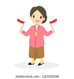 Happy Indonesian girl wearing East Javanese traditional dress and holding an Indonesian flags in both hands cartoon vector