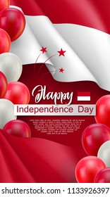 Happy Indonesian Independence day festive poster. Political holiday celebrated 17th of August. Patriotic vector concept with realistic waving indonesian flag and national colors helium balloons