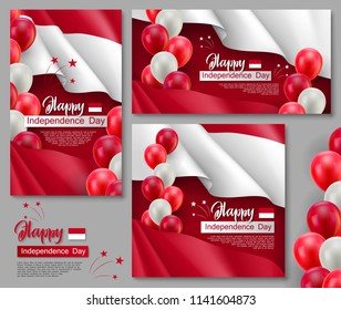 Happy Indonesian Independence day posters. Patriotic collection with realistic indonesian flag and helium balloons. Indonesia country national celebration event. 17th of August vector greeting cards