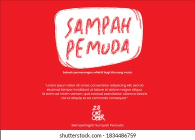 Happy Indonesian Youth Pledge (Sampah Pemuda sarcasme meaning of Sumpah Pemuda) vector text handwriting. 28 October Youth Pledge Day