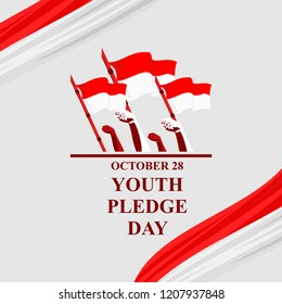 Happy Indonesian Youth Pledge (Sumpah Pemuda) vector illustration. Suitable for greeting card, poster and banner.