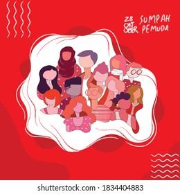 Happy Indonesian Youth Pledge, Translation Selamat Hari Sumpah Pemuda. Vector illustration, suitable for greeting card, poster and banner design