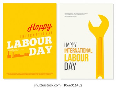 Happy International Labour Day Poster set. Minimal Futuristic Design. Creative Typography and Bright Colors. ideal for Web, Page, Social, Media, Ad, Card and Cover
