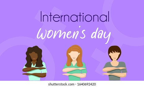 Happy international women's day with 2020 them : Each for Equal. Black, White and Asian women do the each for equal symbol. Purple background and female symbol. Vector illustration , flat design