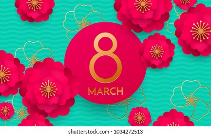 Happy International Women's Day 8 March papercut illustration banner or card. Vector Womens Day background with red 3d paper cut out flowers and number Eight on green background. Origami template