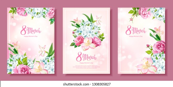 Happy International Women's Day 8 March. Set of three floral backgrounds with blooming flowers of Roses, Alstroemeria, light-blue Phloxes, buds, green leaves on pastel pink background