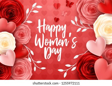 Happy International Women's Day with butterfly and roses flower background