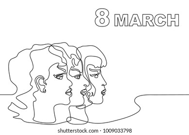 Happy International Women's Day card. Continuous line drawing concept. Linear women portraits and font.