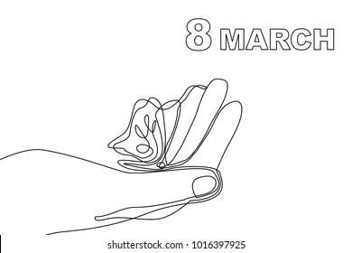 Happy International Women's Day card. Continuous line drawing. Linear hand and butterflies.