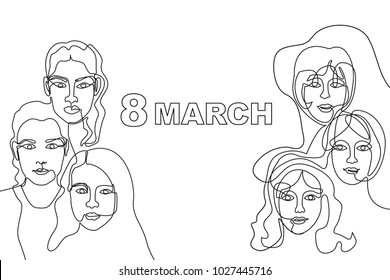Happy International Women's Day card. Continuous line drawing. Linear women faces and slogan.