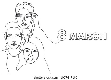 Happy International Women's Day card. Continuous line drawing. Linear women faces.