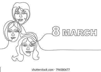 Happy International Women's Day card. Continuous line drawing. Linear women faces and font.
