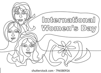 Happy International Women's Day card. Continuous line drawing. Linear women faces, flower and font.