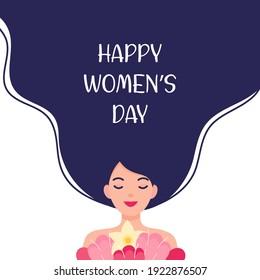 Happy International Women's Day Flat Vector Illustration. Cute Girl Holding Flowers.