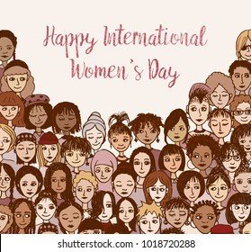 Happy International Women's Day! Hand drawn doodle faces of various women and girls