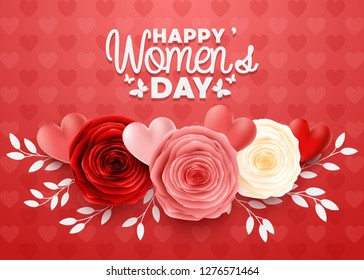 Happy International Women's Day with hearts background