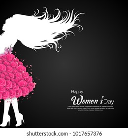Happy International Women's Day on March 8th design background.