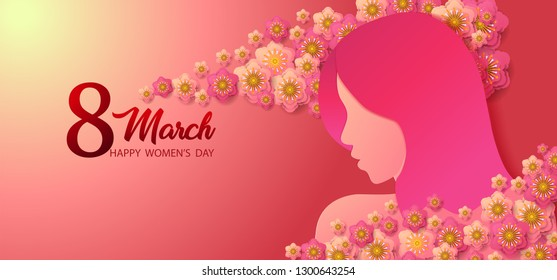 Happy International Women's Day on March 8th design background. Paper cut girl head silhouette cutout with  flower on the pink background.concept vector paper art and digital craft style
