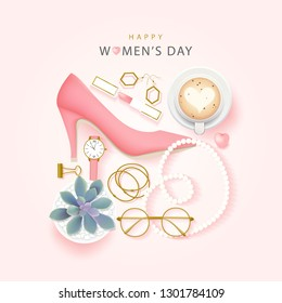 Happy International Women's Day on March 8th design background