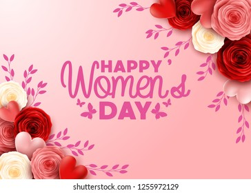 Happy International Women's Day with roses flower background