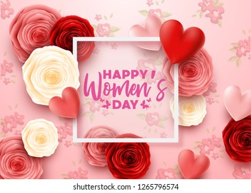 Happy International Women's Day with roses flower and square frame transparent