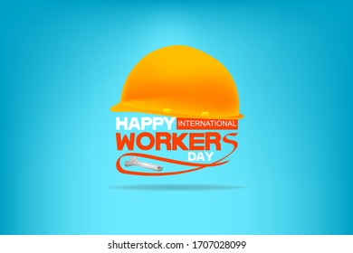 Happy International Workers Day quotes images - vector Background.