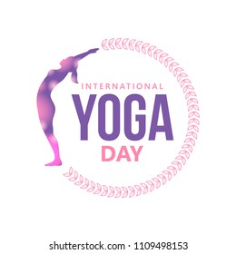 Happy international yoga day with woman silhouette and floral wreath. isolated on white background.