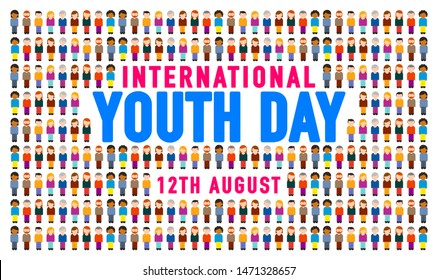 Happy International Youth Day with Colorful Young Crowd People Concept, Template, Banner, Logo Design, Icon, Poster, Unit, Label, Web Header, Mnemonic, Greeting Card, 12th August- Vector, illustration