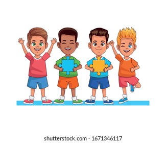 happy interracial boys with puzzle pieces avatars characters vector illustration design