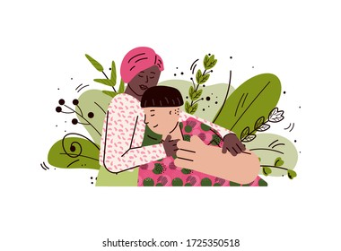 Happy interracial couple hugging on summer leaves background