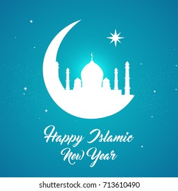 Happy Islamic New Year (also known as Arabic New Year or Hijri New Year ) Vector illustration. Night view of the crescent moon with mosque.