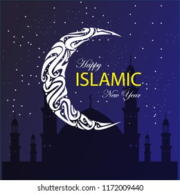 happy islamic new year, happy hijri year with abstract half moon, night sky ,stars and mosque silhouette