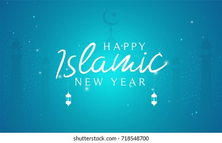 Happy Islamic New Year (Hijri New Year) Vector illustration. Night view with beautiful mosque.