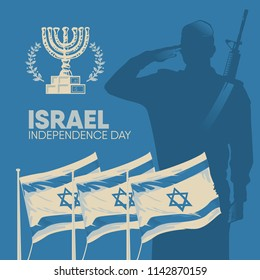 Happy Israel Independence Day. Greeting card drawn by hand from the national flag and saluting soldier.