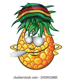 Happy jamaican Pineapple character cartoon illustration