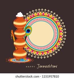 Happy Janmashtami 2018. Indian festival Dahi handi on Janmashtami, celebrating birth of Krishna. Abstract background, Template for creative flyer, banner, greeting cards Vector illustration