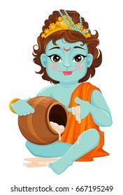 Happy Janmashtami. Celebrating birth of Krishna. Traditional Indian fest. Vector illustration