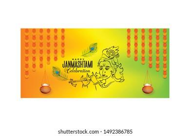 Happy Janmashtami Celebration Banner Design