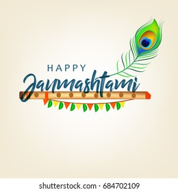 Happy Janmashtami design background, Vector Illustration.