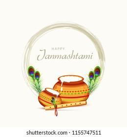Happy Janmashtami Design Background,Dahi Handi Celebration.