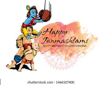 Happy Janmashtami festival background, illustration of Lord Krishna festival of India