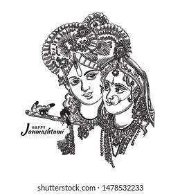 Happy Janmashtami festival holiday - Lord Krishna playing bansuri (flute) with Radha rani, Hand Drawn Sketch Vector illustration.