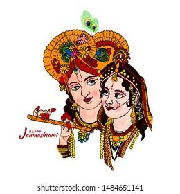 Happy Janmashtami festival holiday - Lord Krishna playing bansuri (flute) with Radha rani, Hand Drawn Sketch colorful Vector illustration.