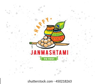 Happy Janmashtami festival typographic vector design. Isolated. Usable as background, banner, greeting card, t-shirt, print. Indian holiday.