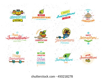 Happy Janmashtami festival typographic vector design with text, Lord Krishna, flute, sweets . Isolated. Usable for Janmashtami banners, greeting cards, t-shirts, print. Janmashtami indian holiday.