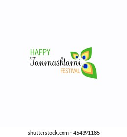 Happy Janmashtami festival typographic vector design with text, pots, Lord Krishna, flute and peacock feather. Usable for banners, greeting cards, t-shirts, print.