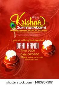 Happy Janmashtami, illustration of Lord Krishna playing bansuri (flute)  religious festival background of India with dahi handi