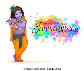 Happy Janmashtami Indian fest decoration background. Celebration of birth of Lord Krishna. Template for flyer, logo, banner, greeting cards. Hand drawn Vector illustration of Dahi Handi on Janmashtami